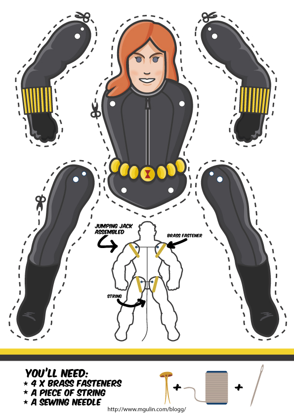 black-widow puppet template