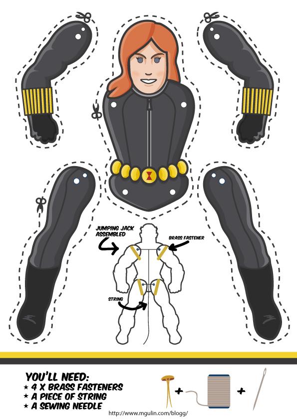 black-widow puppet template