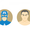 golden age heroes flat icons