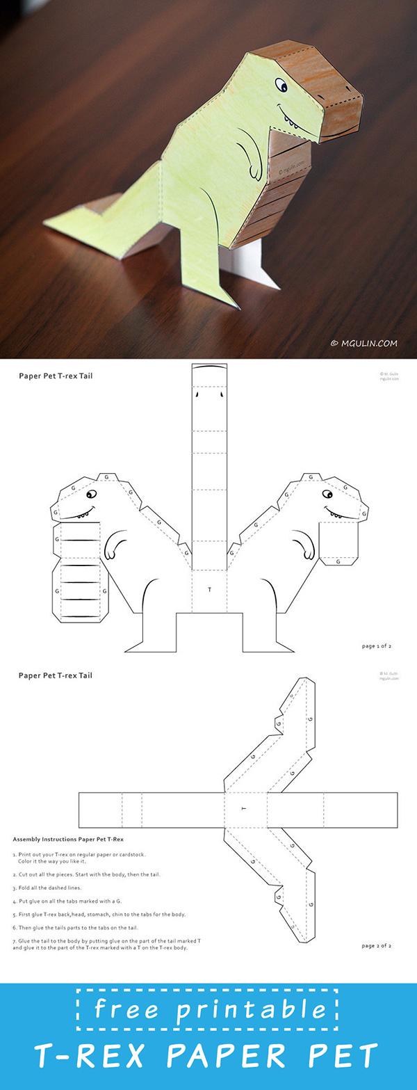 paper puppet t-rex