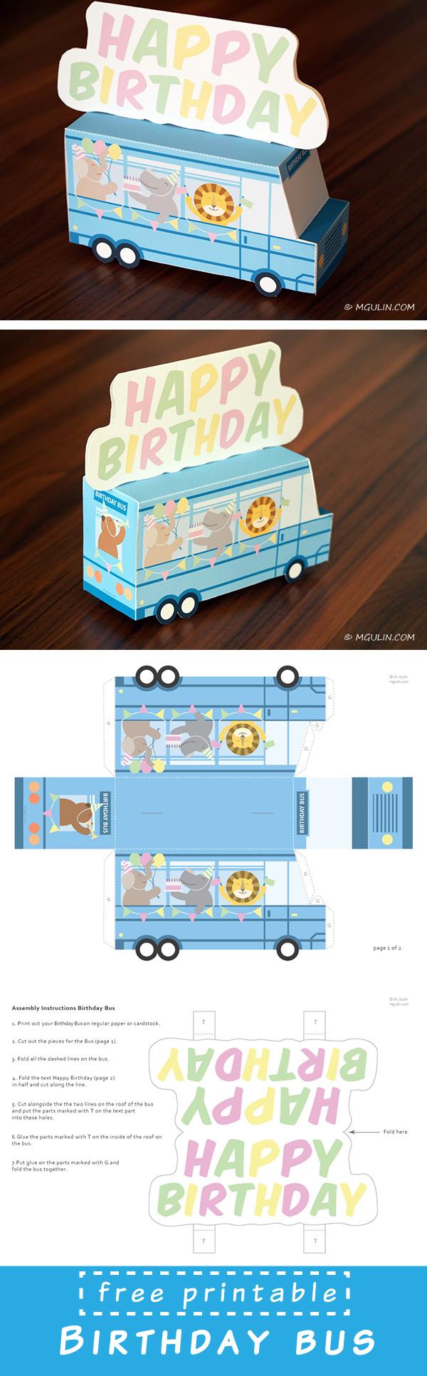Printable birthday bus