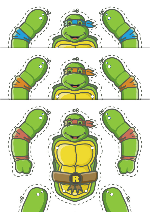 Content: 4x Teenage Mutant Ninja Turtles Paper Puppet Template And  Instructions. Approximate Size Of Puppet Assembled: 230 Mm/9 In X 140  Mm/5.5 Inch