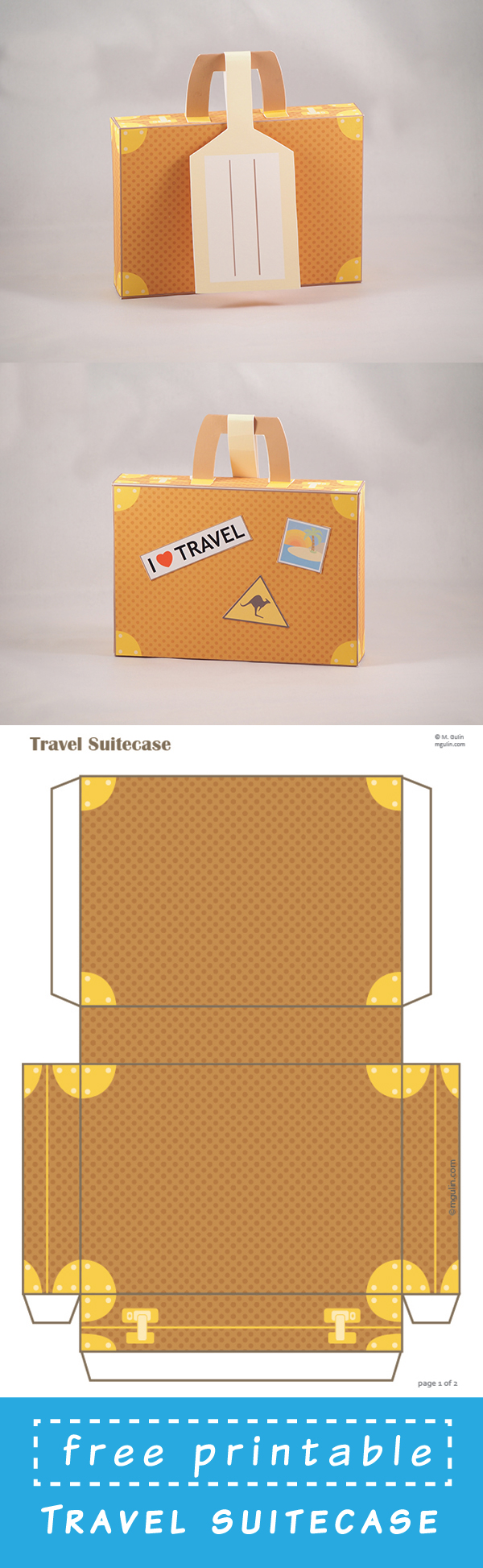 Printable suitcase gift card