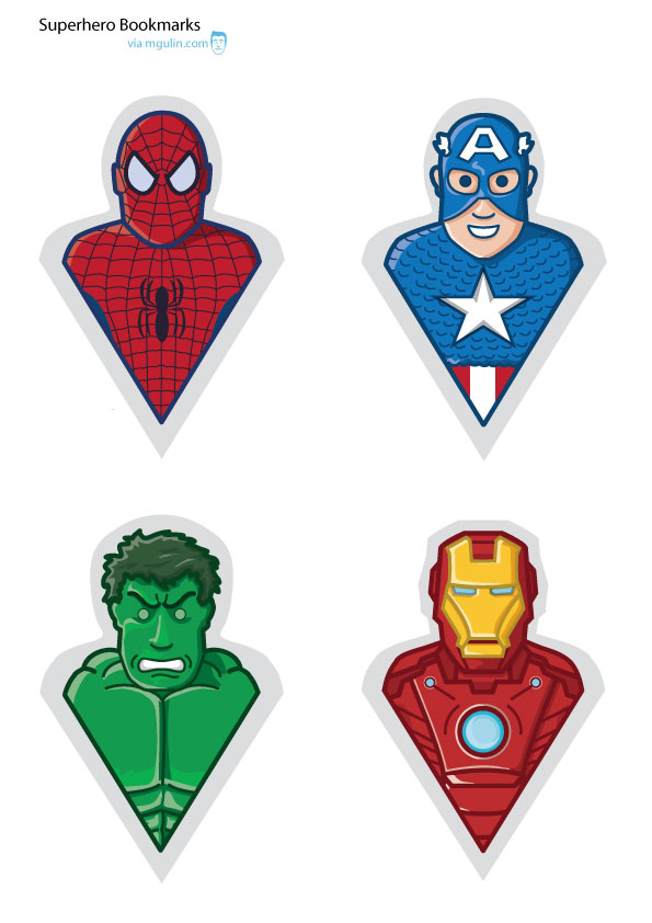 supehero bookmarks