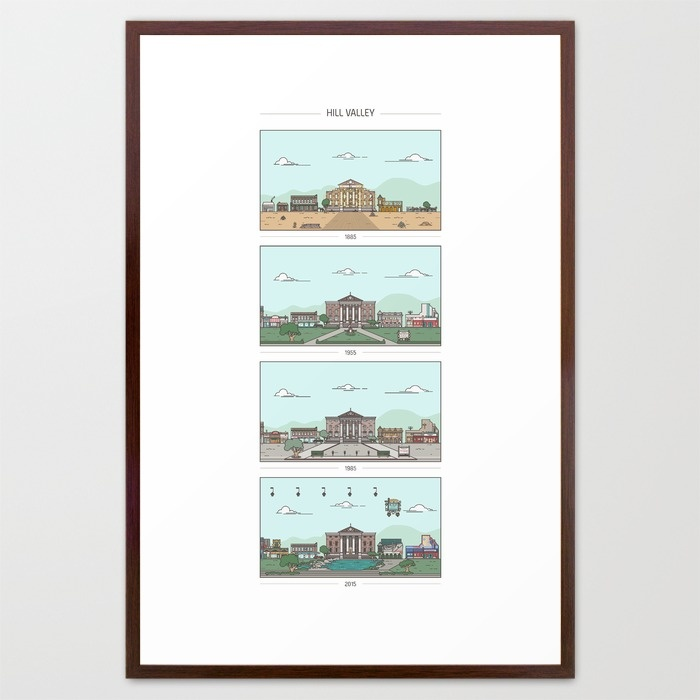 back-to-the-future-hill-valley-x-4-framed-prints