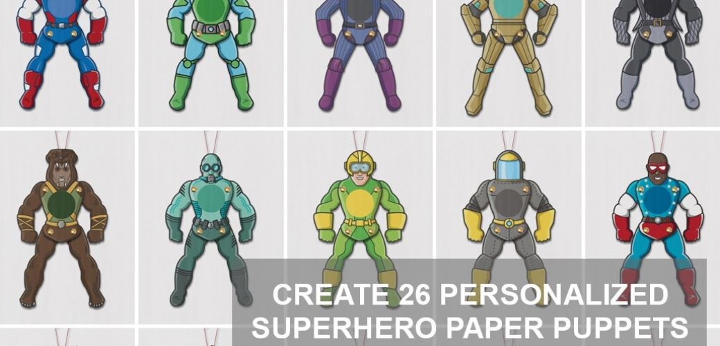 a-z-superheroes paper puppets
