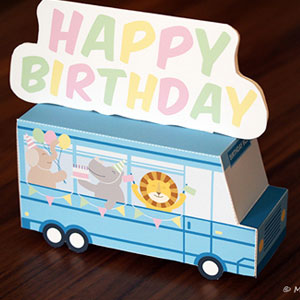 DIY Happy Birthday Bus Papercraft