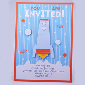 DIY party invitations – Spacerocket and Robot
