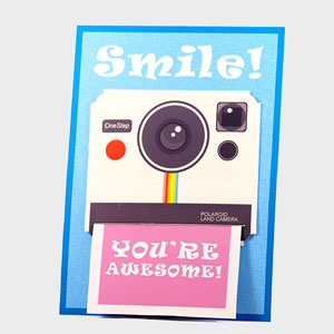DIY papercraft – Polaroid camera themed Gift Card