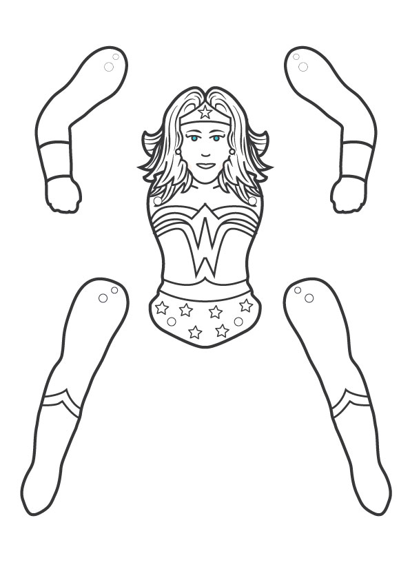 Wonder woman paper puppet
