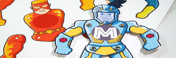 a-z superhero paper toy