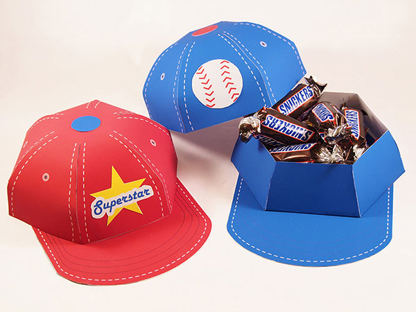baseball cap favor boxes