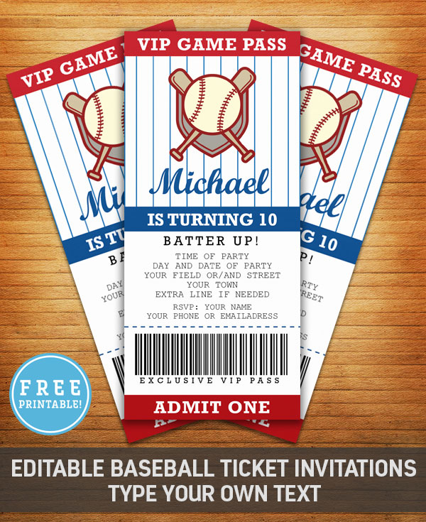 ... Baseball Party Invite  Printable Ticket Invitations