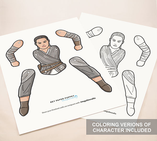 Star wars force awakens paper puppet printables m gulin for Cut out character template