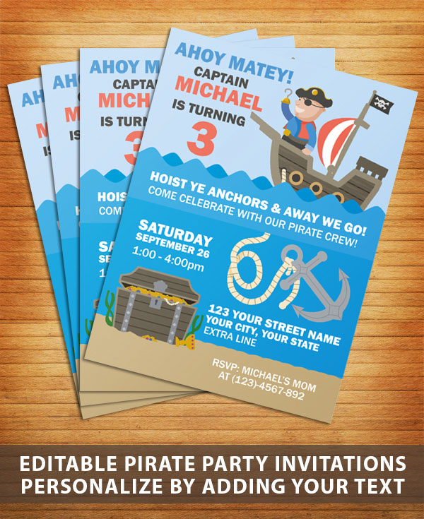 Pirate party invitaions