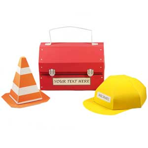 Construction party favor boxes