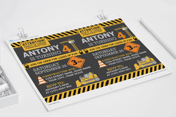 Invitation for that construction site themed party