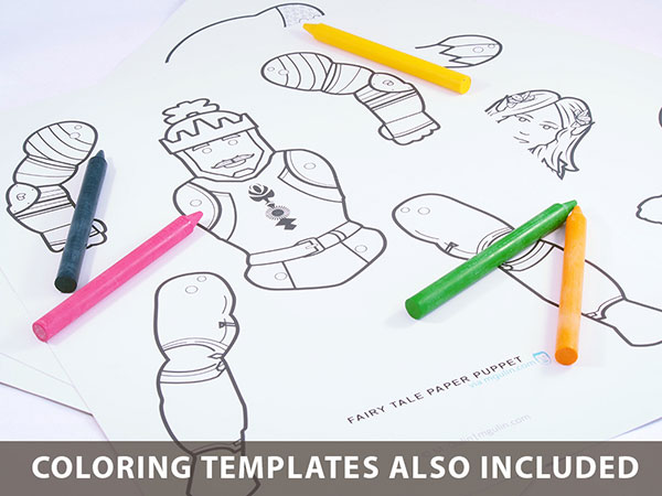 Fairy tale puppet coloring template