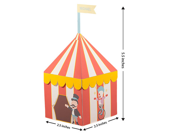 Circus party theme favor box