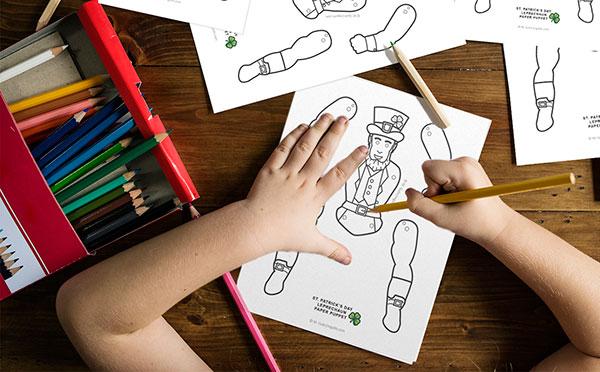 Saint Patricks Day leprechaun Paper Puppet coloring
