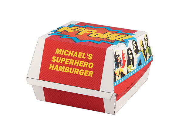 Superhero party barbeque hamburger box