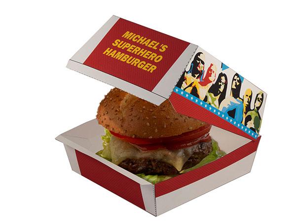 Superhero party barbeque hamburger box
