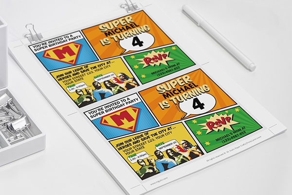 Super hero party invitation printable