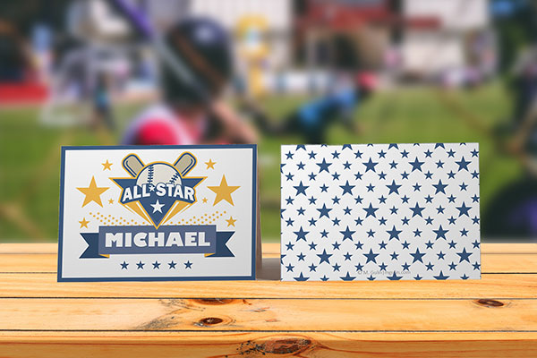 Place cards baseball theme