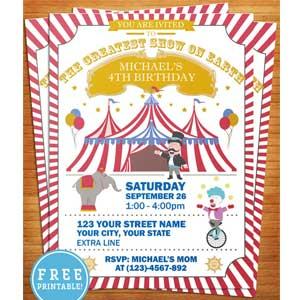 Circus carnival invitation prinatble